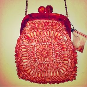 Coral beaded Zara bag with chain NWOT